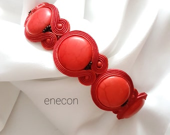 Soutache bracelet Red bracelet