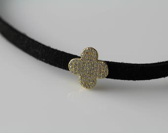 Flower Choker Necklace, Velvet Choker, Unique Choker, Sterling Silver Choker, Gift for Women, Unique Gifts, Fashion Necklace
