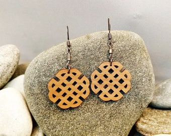 Beautifull wood earrings/ Handmade earrings/ Celtic signs/ Round earrings/ Wood earrings/ Dangle earrings/ Gift for woman/ Local Design 4You