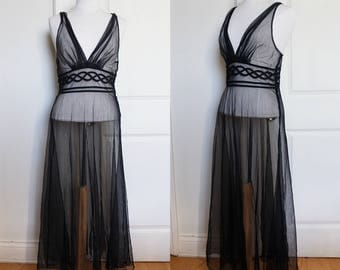 1970s Black Sheer Negligee Gown