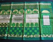 1960s Kitchen Towel Jeremiah Murphy Linen Fish Green Deadstock Recipe