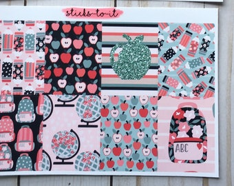 Little Ms. School Girl Mini Weekly Set Horz and Vert Planner Sticker - Full ECLP Mambi Inkwell Press Filofax Kikki K elementary middle