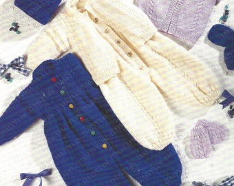 PDF Instant Digital Download baby gilet all in one hat mittens knitting pattern 16 to 24 inch aran (360)