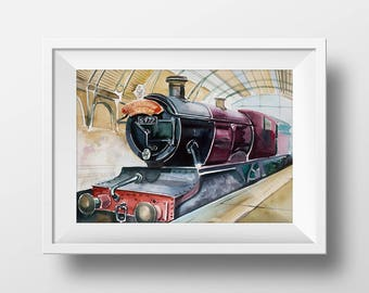Wall Art Watercolor Hogwarts Express Print,Harry Potter,Movie Poster,Film,9 3/4,Harry Hermione Ron,Printable,Fan Gift,Room Decor,Train