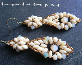 Beaded earrings, navette, great shape - cream duets and old gold