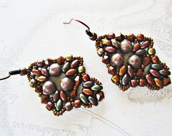Copper super duos fall tones, coffee, woven beaded earrings