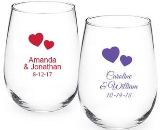 24 pcs - Solid Hearts Personalized 9oz Stemless Wine Glass  - Wedding Favors - JM218773-9OZ