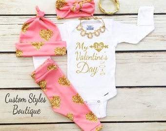 Baby Girls Valentine's Day Outfit, My First Valentine's Day, Pink with Gold Hearts,Leggings, White Bodysuit, Hat and Headband, Baby Leggings