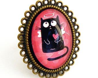 pretty black cat Angel ring