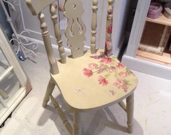 "Yorkshire Fiddleback Chair ""Hand Painted"" Decoupaged, Kitchen, Dining, Bedroom Chair"