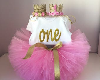 Pink and Gold birthday outfit, Lace crown , pink and gold tutu