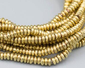 400 - 3x1mm Heishi Golden Brass Metal Spacer Beads - jewelry supply