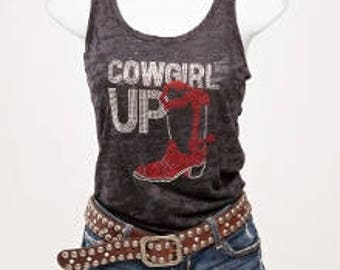 Cowgirl Up Burnout Racerback Tank