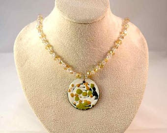 Handmade Enamel Pendant and Beaded Necklace - Green - Beige - Tan - White - Patina - Crystal - One-of-a-Kind - Gifts for Her - Christmas