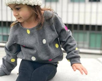 Grey with polka dots sweater / toddler sweater / baby girl sweater