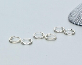 Sterling Silver Hoops, 8mm Silver Ear Hoops, Ear Hoops, Delicate Earrings, Piercing Hoops, Tiny Hoops, Gift Ideas, Cartilage Hoops,(ES36X3)