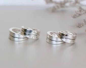 Simple Sterling Silver Ear Hoops, Silver Hoops, Sterling Silver Hoops, Piercing Hoops, Silver Earrings, Gift Hoops (E135)