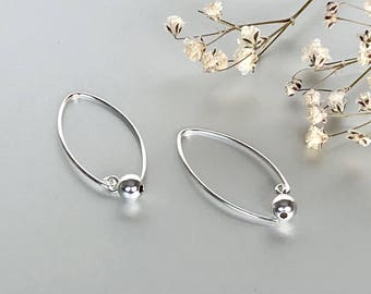 Simple Silver Hoops, Silver Hoops, Silver Ball Hoops, Piercing Hoops, Silver Earrings, Gifts For Her (E170)