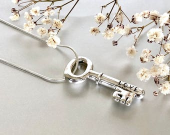 Silver key charm necklace, Love pendant, Silver neck charm, Silver necklace, Silver chain necklace , (P131)