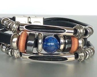 Black Leather And Lapis Bead Bracelet, Leather Cuff, Hippie Bracelet, Bohemian Bracelet, Funky Wrist Cuff LO109