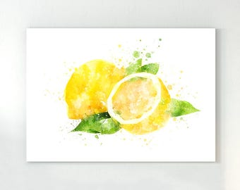 Lemon poster, kitchen wall art, lemon watercolor, fruit art, lemon kitchen art, yellow lemon, lemon kitchen decor, kitchen poster, lemon