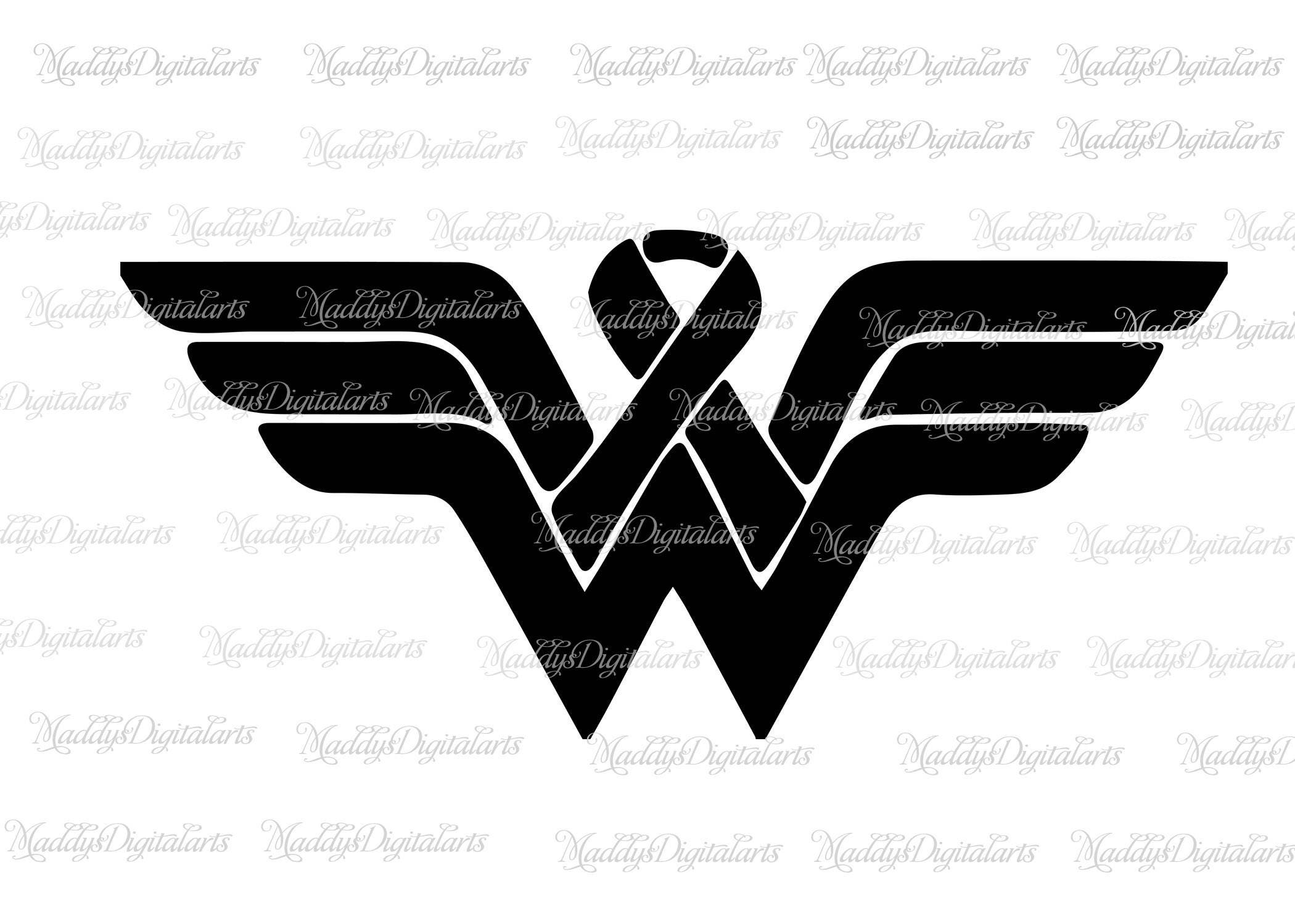 wonder woman breast cancer awareness svg dxf  cancer ribbon svg  dxf png jpg  instant download