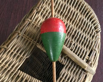 Large Fishing Bobber Red and Green Vintage Wood Nice