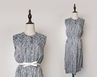 Grey Vintage Women Dress Colourful Leaf Print 1980s Sleeveless Size M