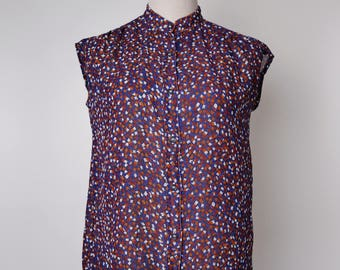 Navy Women Vintage Blouse Colourful Graphic Print 1980s Stand Collar Sleeveless Size M