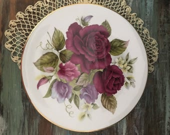 vibrant ruby cabbage roses royal grafton fine bone china display plate