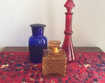 Colored Glass Decorative Decanters with Stoppers