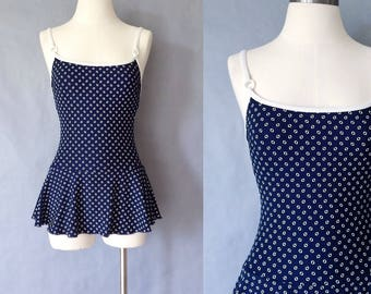 vintage swimsuit /one piece swimsuit/ 50s swimsuit/polka dots swimsuit/skirted swimsuit Made in USA