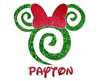 Personalized Swirls Minnie Mouse with Bow Lollipop Swirl  Disney Christmas Family Matching Park Disney Iron On Decal Vinyl for Shirt 138