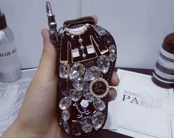 Lovely Luxury Black Blouse Pearl Teardrop Crystal Je Taime Key Holder Chain Bag, for Car Key Rings or Bag/Handbag/Purse