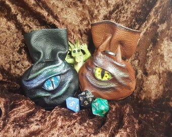 Extra Small Leather Dragon Dice Bags / Coin Pouches Holds 7 Dice with stunning Dragons Eye.