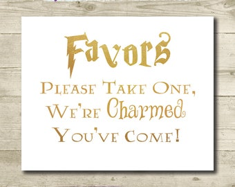 Harry Potter Wedding Favors Sign // Printable //8x10 & 5x7// Harry Potter Bridal Shower // Please Take One Sign // Gold Harry Potter Wedding