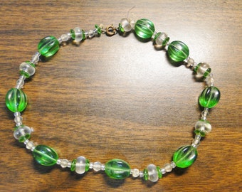 """Super Green Peridot Beaded Necklace - Approx. 15"""" Long - Quality Beads - Very Old - Great Find!"""