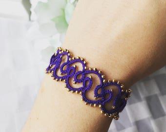 """Tatted lace bracelet, ultra violet bracelet, lace bracelet, """"Royal"""" Tatted Lace Bracelet, cuff bracelet"""