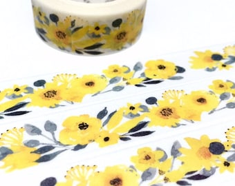 yellow flower washi tape 7M garden flower wildflower yellow tone yellow gardening sticker tape gardening planner floral pattern theme decor