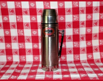 Industrial Uno-Vac Stainless Steel Thermos Unbreakable Heavy Duty with Handle, Stainless Steel Cup, Screw on Stopper