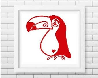 Toucan bird silhouette cross stitch pattern