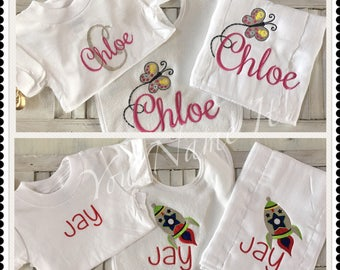Bib, Burp and Onesie Gift Set