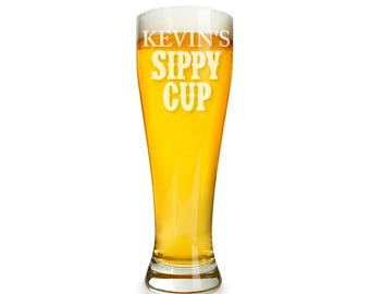 Sippy Cup Personalized Pilsner Galss Engraved - Holiday Gift - Birthday Gift -DG32-K10-PIL19416