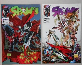 Spawn #8, #9; First Angela; Neil Gaiman; Alan Moore; Todd McFarlane; Angela poster Jim Lee; Spawn Poster Frank Miller; High Grade!