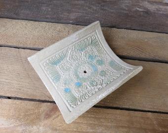 Handmade Ceramic Soap Dish, Stamped Soap Dish, Pottery Soap Dish, White Soap Dish, Indian Stamp, Bathroom, Ceramic, Handmade, White and Blue