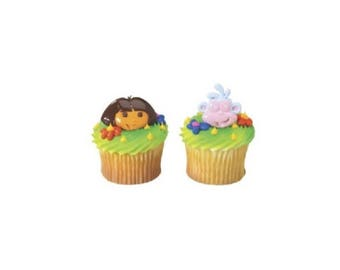 12 Dora & Boots Ring Cupcake/Cake Toppers