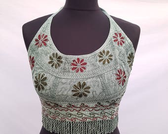 Holiday Halter Neck Back Tie Bikini Summer Beachwear Embroidery Crop Top U.K. size 8 10 12 14 16
