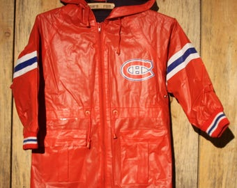 Vintage Kids Montreal Canadiens NHL Rain Trench Coat Jacket Hooded Size Small +