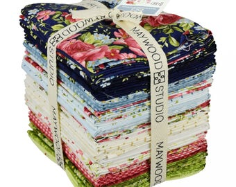 Roses on the Vine Fat Quarter Bundle by Marti Michell for Maywood (32 pcs) quilting precut cotton pink green FQ-MASROV