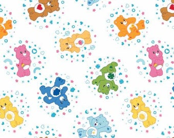 White Care Bears Belly Badge Cotton fabric from Camelot Fabrics 44010102-1 America Greetings licensed fabric by yard metre quilting camelot